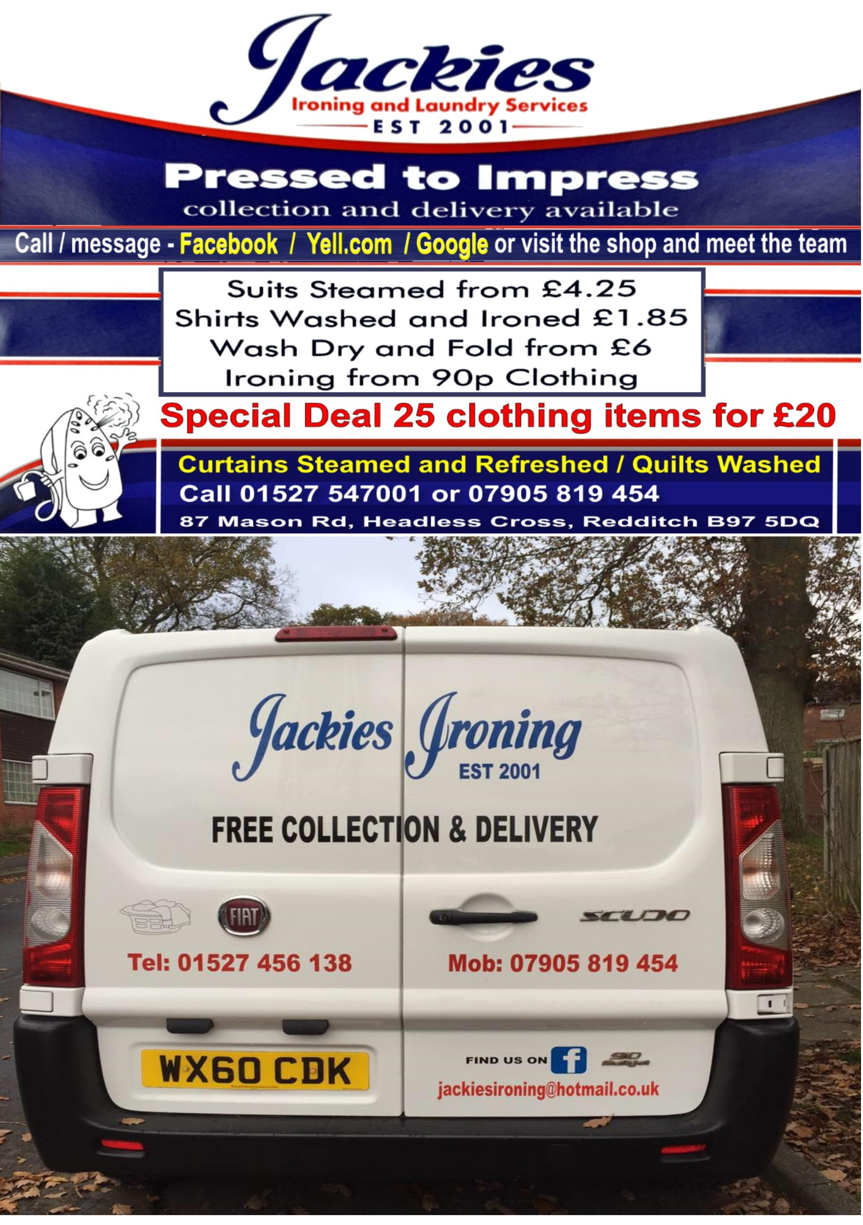 JACKIES IRONING AND LAUNDRY SERVICE REDDITCH BROMSGROVE DRY CLEANING