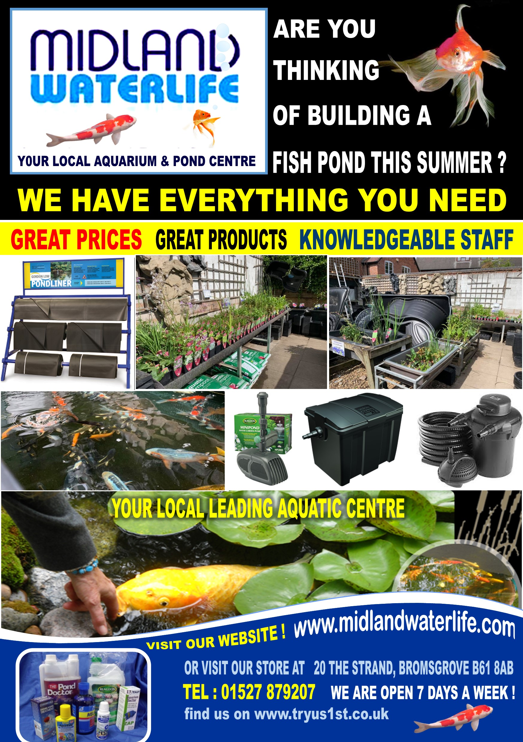 Midland Waterlife aquatics and pondlife bromsgrove - Try us 1st Local Traders