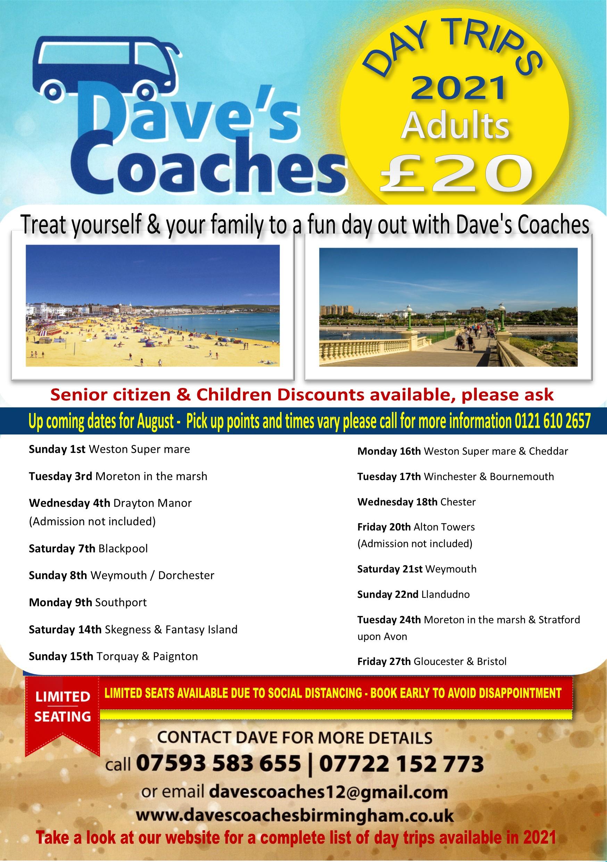Daves Coaches coach trips